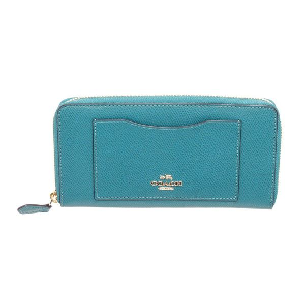 Coach Turquoise Blue Leather Long Zippy Wallet