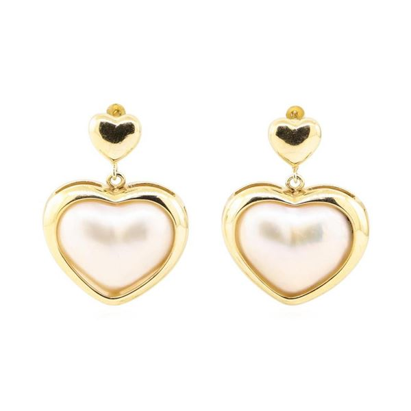 Heart Shaped Mother of Pearl Dangle Earrings - 14KT Yellow Gold