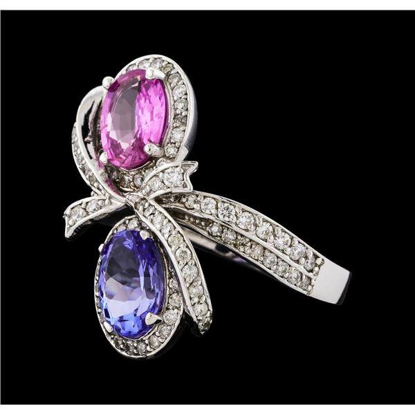 2.55 ctw Tanzanite, Pink Sapphire, and Diamond Ring - 14KT White Gold
