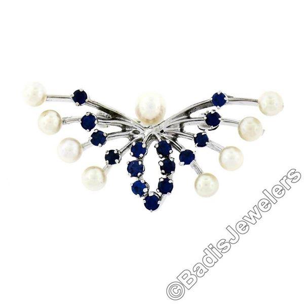 Estate 10kt White Gold 1.00 ctw Sapphire & Pearl Open Butterfly Brooch or Pendan