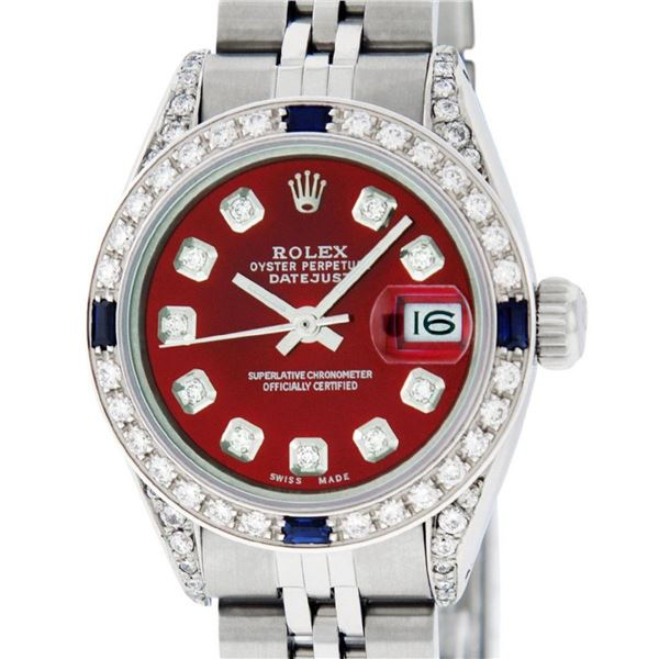 Rolex Ladies Stainless Steel Red Diamond Lugs & Sapphire Datejust Wristwatch