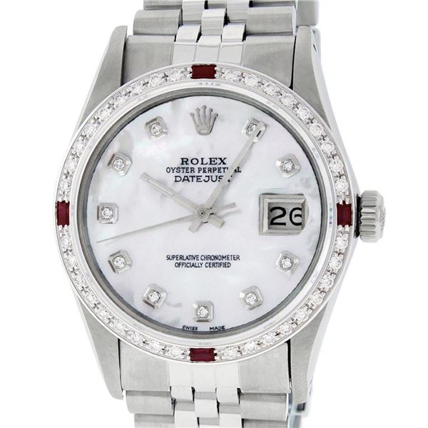 Rolex Mens Stainless Steel MOP Diamond & Ruby 36MM Oyster Perpetual Datejust
