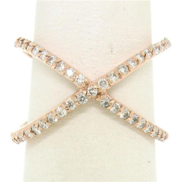 14k Rose Gold 0.50 ctw 45 Round Brilliant Diamond Simple X Ex Cross Band Ring