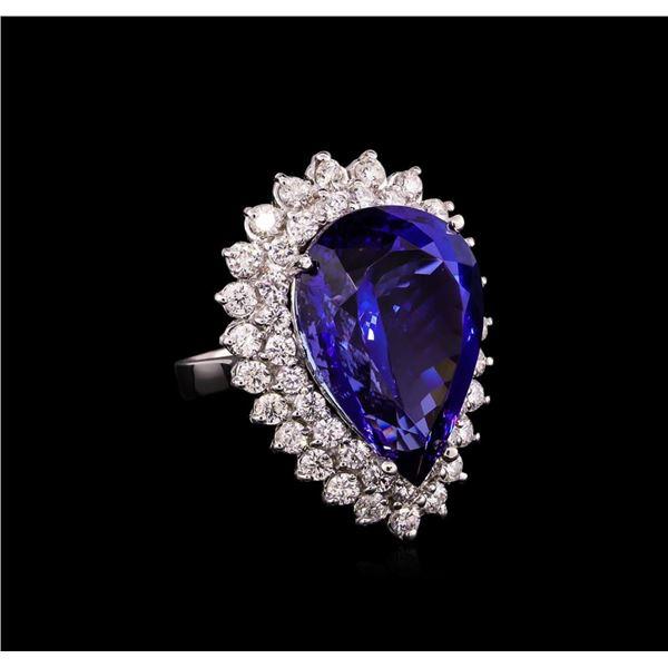 14KT White Gold GIA Certified 24.90 ctw Tanzanite and Diamond Ring