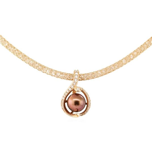 0.51 ctw Diamond and Pearl Pendant & Chain - 14KT Rose Gold