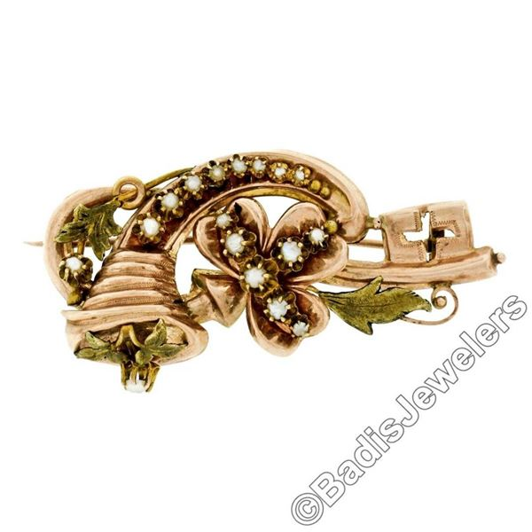 Victorian 12kt Rose & Green Gold Natural Seed Pearl Flower Brooch