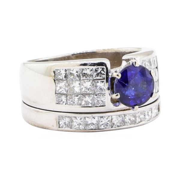 2.64 ctw Sapphire And Diamond Ring And Attached Band - 18KT White Gold