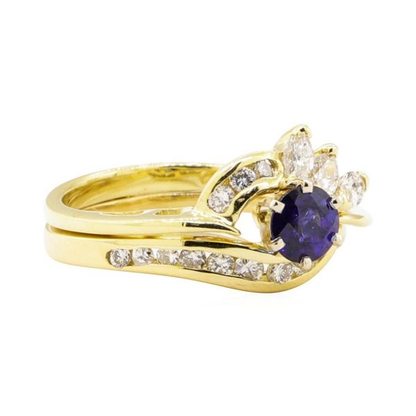 0.92 ctw Blue Sapphire and Diamond Ring - 18KT Yellow Gold