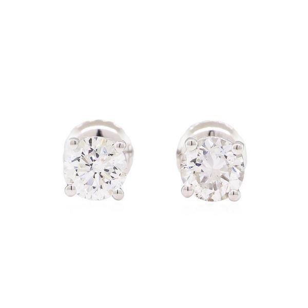 0.96 ctw Diamond Stud Earrings - 14KT White Gold