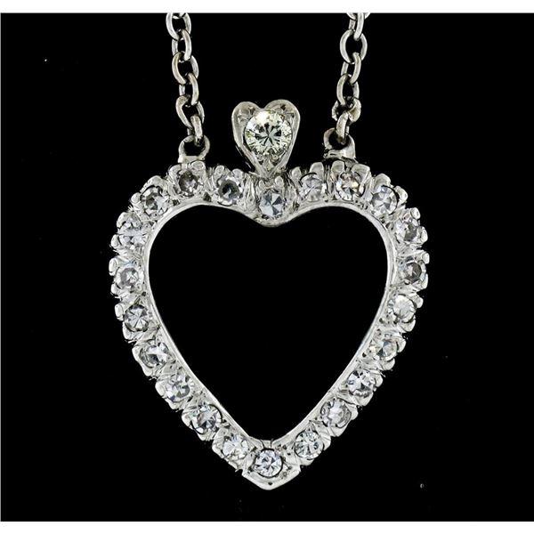 Antique 14k White Gold 1.00 ctw Single Cut Diamond Open Heart Pendant Necklace