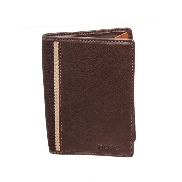 Coach Brown Leather Heritage Web Passport Holder