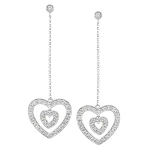14k White Gold 0.38CTW Diamond Earrings, (I1 /I)