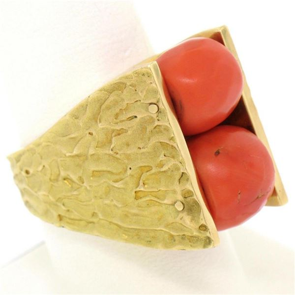 18k Yellow Gold Spinning Faceted Coral Bead Textured Matte VERY HEAVY 40.1g Ring