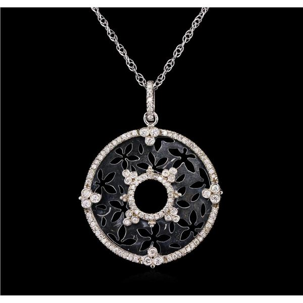 0.82 ctw Diamond Pendant With Chain - 14KT White Gold