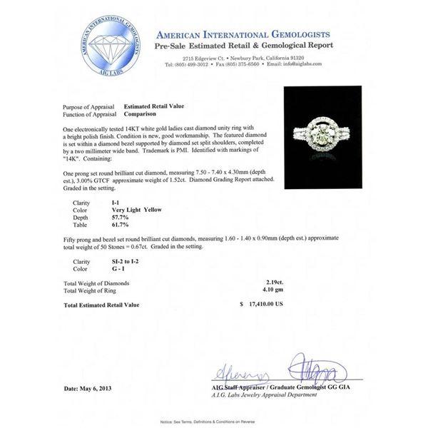 14KT White Gold 1.52 ctw I-1/Very Light Yellow Diamond Ring