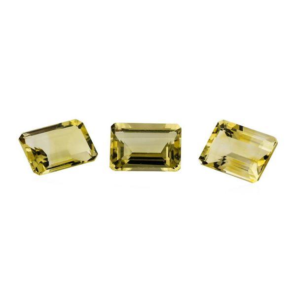 20.84 ctw.Natural Emerald Cut Citrine Quartz Parcel of Three