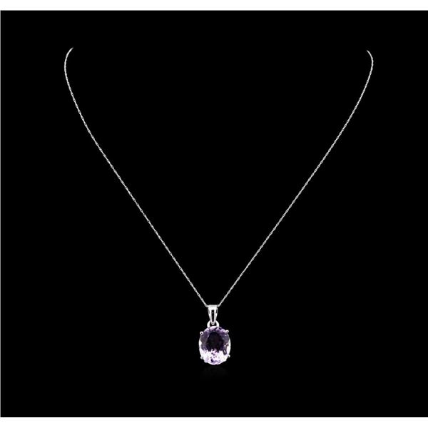 Crayola 7.90 ctw Pink Amethyst Pendant With Chain - 14K White Gold