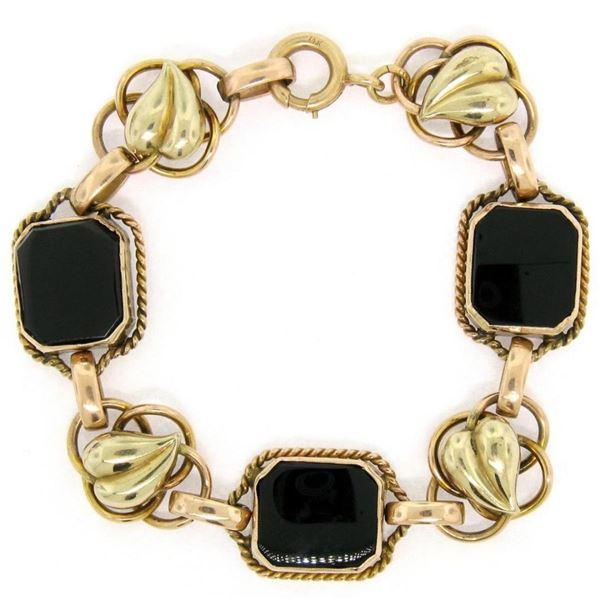 Retro Vintage 14kt Green and Rose Gold Black Onyx and Open Leaf Link Bracelet