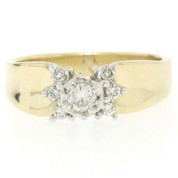14k Two Tone Gold 0.30 ctw Illusion Set Solitaire Diamond Engagement Ring