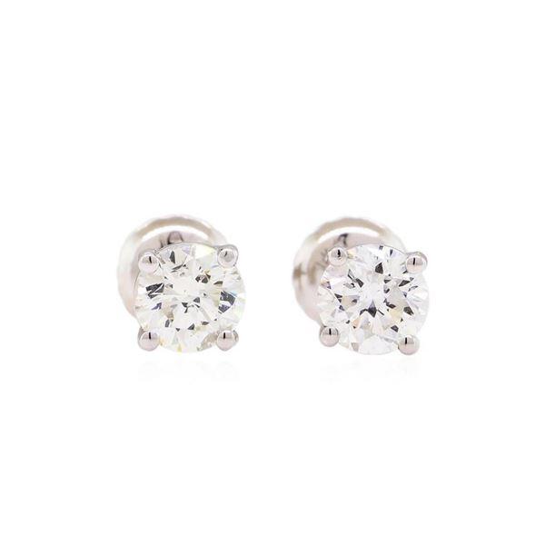 0.93 ctw Diamond Stud Earrings - 14KT White Gold