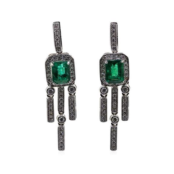 3.24 ctw Emerald and Diamond Earrings - Platinum