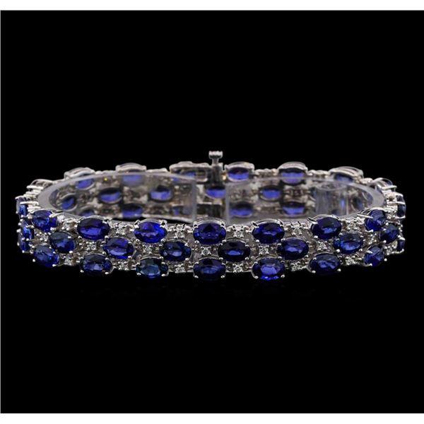 14KT White Gold 32.00 ctw Sapphire and Diamond Bracelet