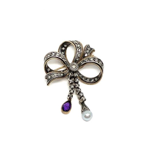 1.77 ctw Pear Mixed Amethyst And Diamond Pin - SILVER AND 10KT YELLOW GOLD  Othe