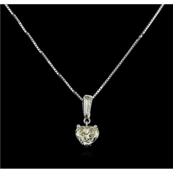 GIA Cert 1.17 ctw Diamond Pendant With Chain - 14KT White Gold