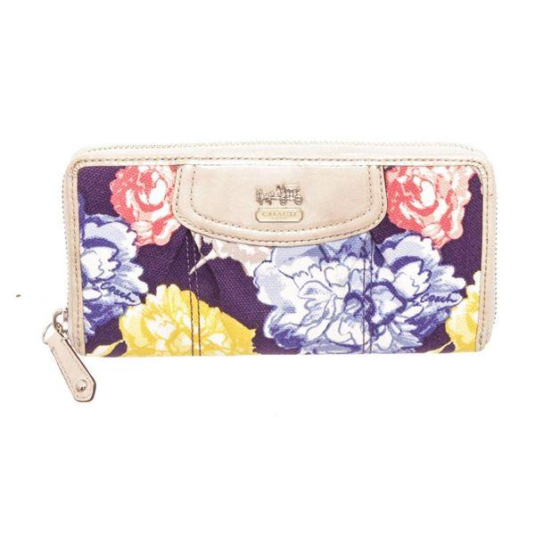 Coach Multicolor Floral Canvas Madison Zippy Wallet