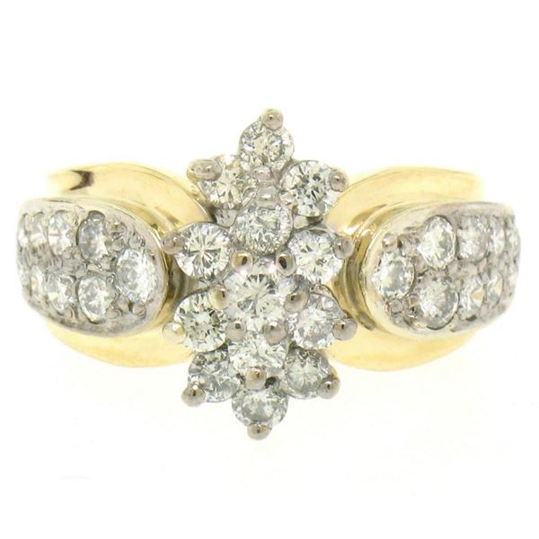 14k Yellow & White Gold 1.51 ctw 33 Prong & Pave Set Round Diamond Cluster Ring