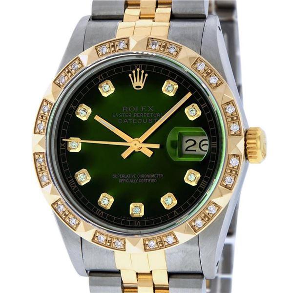 Rolex Mens 2 Tone Green Vignette Pyramid Diamond 36MM Datejust Wristwatch
