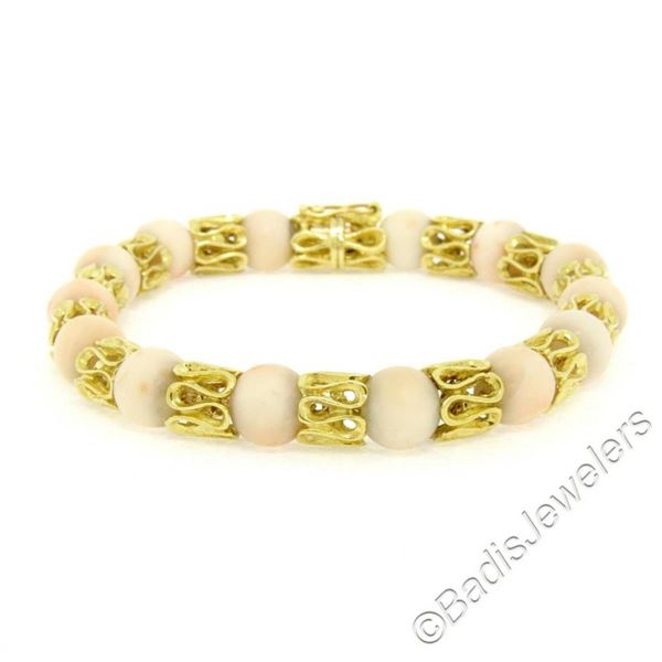 Vintage 18kt Yellow Gold Twisted Link Bracelet w/ Matching Angel Skin Coral Bead