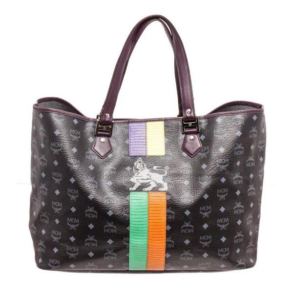 MCM Black Coated Canvas  Leather Lion Shopper Shoulder Bag
