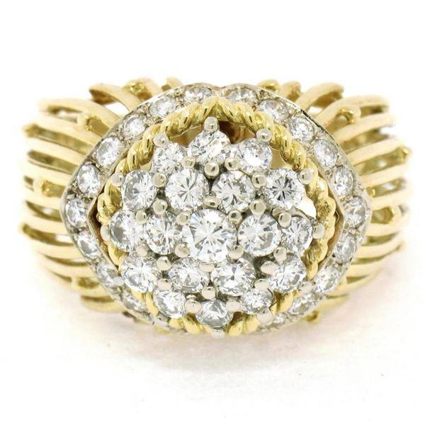 Hammerman Brothers 18K Yellow Gold & Platinum 1.60 ctw Diamond Cluster Ring Desi