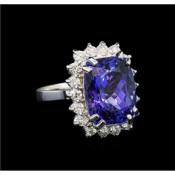14KT White Gold 8.25 ctw Tanzanite and Diamond Ring