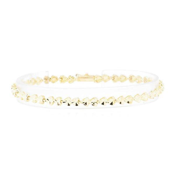 Diamond-Cut Heart Motif Bracelet - 14KT Yellow Gold
