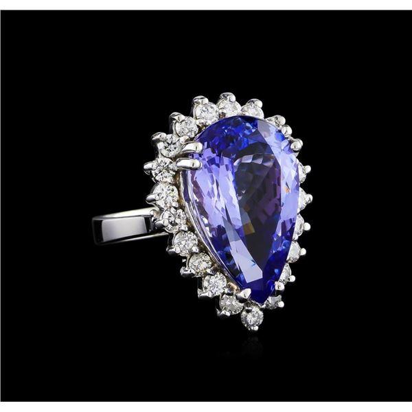 11.11 ctw Tanzanite and Diamond Ring - 14KT White Gold
