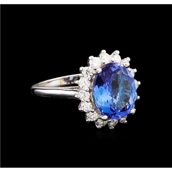5.04 ctw Tanzanite and Diamond Ring - 14KT White Gold