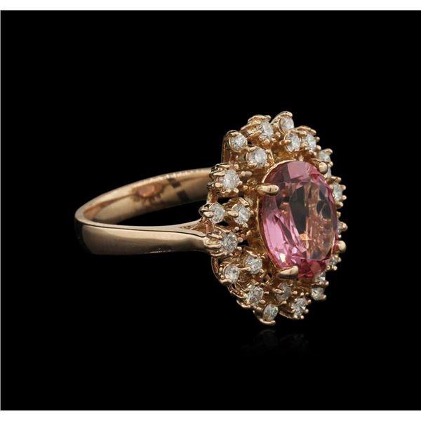 3.06 ctw Pink Tourmaline and Diamond Ring - 14KT Rose Gold