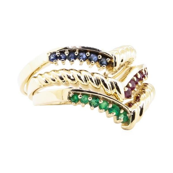 0.60 ctw Emerald, Ruby, and Sapphire Stackable Ring Set of Three - 14KT Yellow G