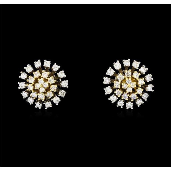 0.67 ctw Diamond Earrings - 14KT Two Tone Gold