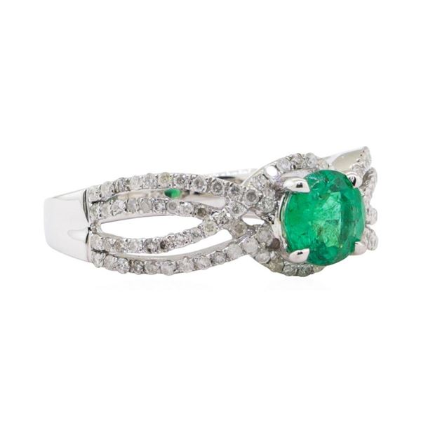 0.78 ctw Emerald and Diamond Ring - 14KT White Gold