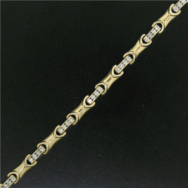 "14K Yellow Gold 7"" 2.16 ctw Channel Set Round Brilliant Diamond Tennis Bracelet"