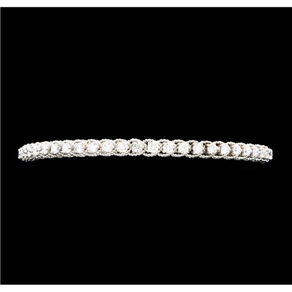1.65 ctw Diamond Bangle Bracelet - 14KT White Gold