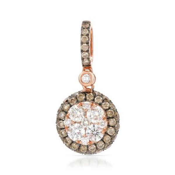 14k Rose Gold 0.89CTW Diamond and Brown Diamonds Pendant, (SI/H)