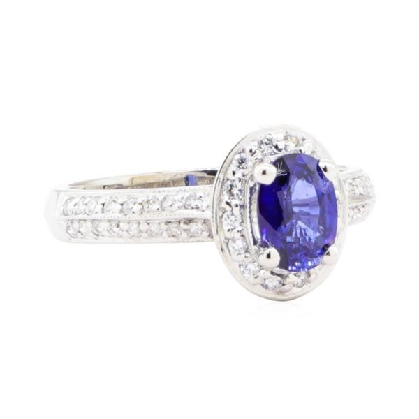 1.35 ctw Sapphire And Diamond Ring - 14KT White Gold