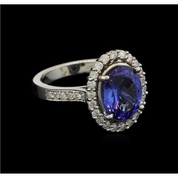 3.73 ctw Tanzanite and Diamond Ring - 14KT White Gold