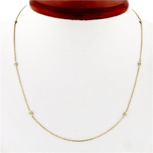 """14K Rose Gold 0.12 ctw 6 Round Bezel Diamond by the Yard 16"""" Chain Necklace"""