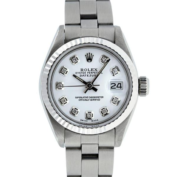 Rolex Ladies Stainless Steel White Diamond 26MM Oyster Band Datejust