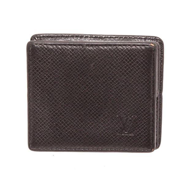 Louis Vuitton Black Taiga Leather Boite Coin Case Wallet